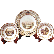 Trio of Scenic and Gilt Decorated 19th Century English Plates