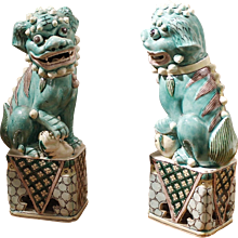 Pair of Pale Aqua Glazed Chinese Porcelain Foo Dogs