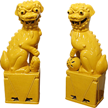 Pair of Large Yellow Glazed Chinese Porcelain Foo Dogs