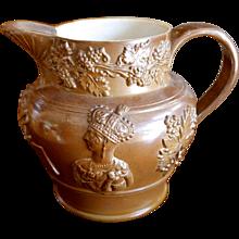English Lustre Glazed Stoneware Jug With Victoria and Albert