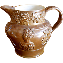English Lustre Glazed Stoneware Jug With Victoria and Albert