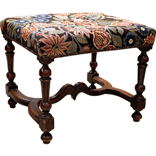 Early French Walnut carved Stool with Needlepoint Upholstery