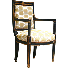 French Provincial Empire Period Painted Fauteuil