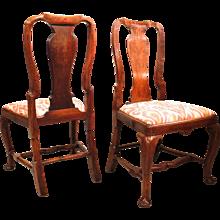 Pair of George I/ George II Figured Walnut Sidechairs