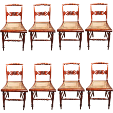 Set of Eight New England Curly Maple Dining Chairs