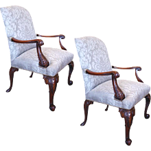 Pair Of English Gainsborough Style Library Armchairs