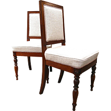 Pair of French Walnut Chairs with Square Backs