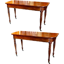 Pair of English Mahogany Late Regency Console Tables