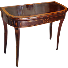George III Inlaid Rosewood Demilune Flip Top Card Table