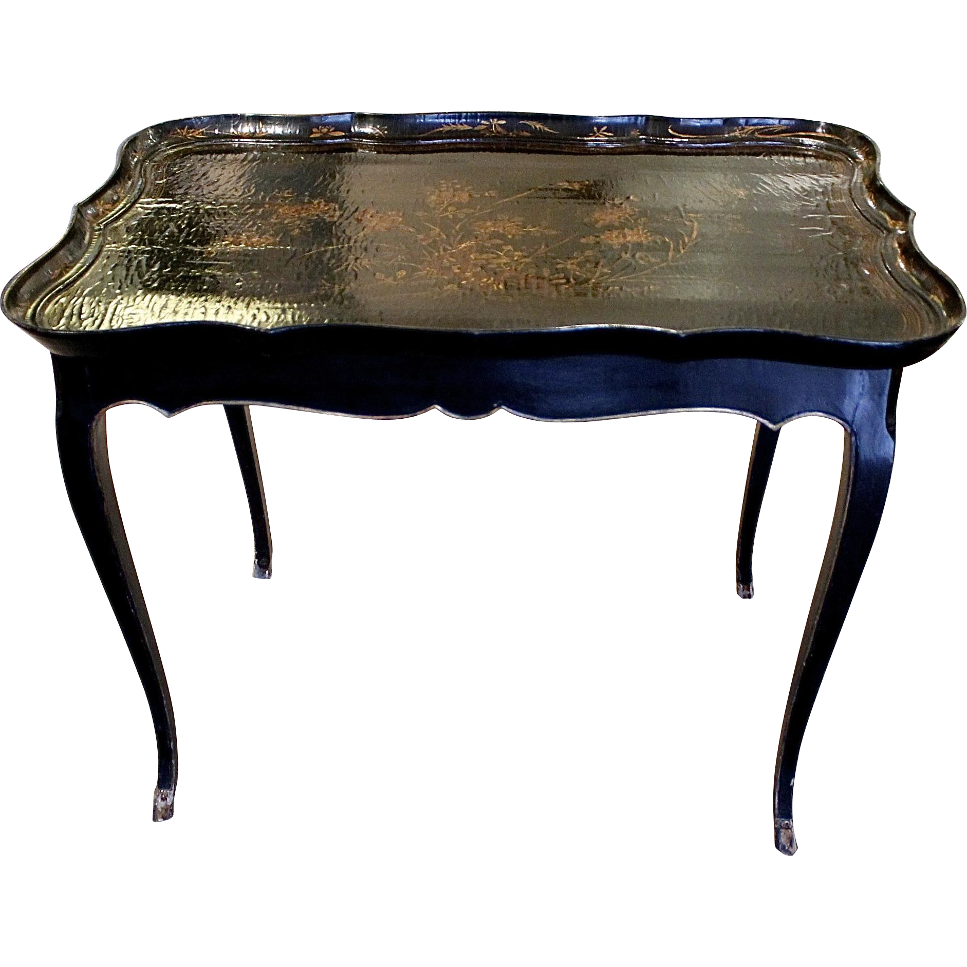 Louis xv style table with chinese lacquered tray top from for Table de chevet louis xv