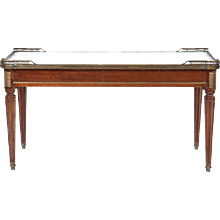 French Louis XVI Style Marble Topped Coffee Table, Early 20th Century