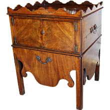 George III Mahogany Pot Cupboard Table with Scalloped Gallery