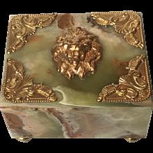 Banded Onyx Box with Ormolu Lion Head