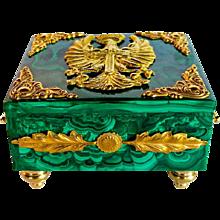 Luxurious handmade malachite and ormolu box with Eagle motif.