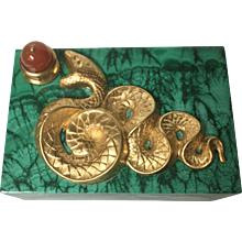 "Luxurious handmade malachite box with ormolu ""serpent"" and carnelian ""apple."""