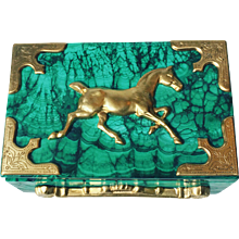 Malachite Box with Ormolu Equestrian Motif