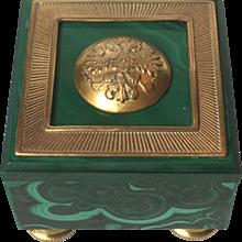 Ormolu-Mounted Malachite Box Topped with Russian Uniform Button