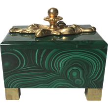 Art Nouveau-Style Solid Malachite Box with Ormolu Detail