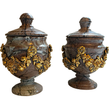 Pair of Small Marble and Gold Ormolu Lidded Urns