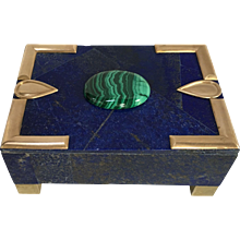 Large Lapis Normandie Box with Malachite Cabochon