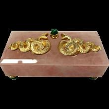 Solid Rose Quartz and Malachite Serpent Box