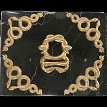 Italian Black Zebra Marble Serpenti Box