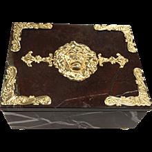 "Deep Red Italian Marble and Carnelian ""Lion Crest"" Box"