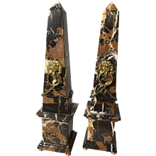 Stunning classical Italian marble obelisk PAIR with lions.