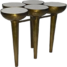 Brass Polished Aluminum Low Table in Organic Design