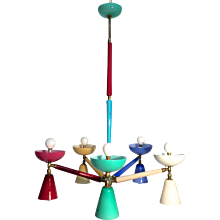 Multicolored Venetian Glass Chandelier with Double Cones