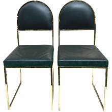 Pair of Willy Rizzo Gold Metal and Leather Chairs