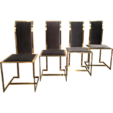 Mid-Century Italian Brass and Velvet Dining Chairs