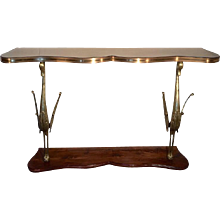 Sculptural Italian Console with Bronze Swans on Wooden Base