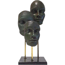 Bronze and Brass Face Sculpture on Marble Base