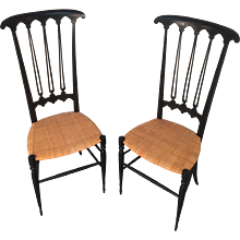 Pair of Mid-Century Black Chiavari Chair