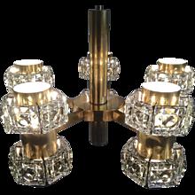 Multi Arm Brass and Crystal Kinkeldey Chandelier
