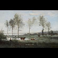 Paturage dans les Marais (Souvenir des environs d'Amiens)