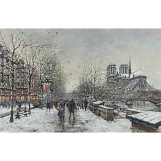 Antoine Blanchard - Winter in Paris, Notre-Dame