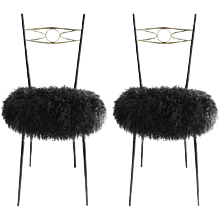 Pair of Mid-Century Modern Italian Gio Ponti Style Brass and Metal Chairs