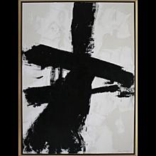 """Balancing Act"" Original Black and White Painting by Argentine Artist Karina Gentinetta, 2016, 36""x48"""