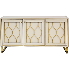 Mid-Century Italian Ivory Opaline Glass Credenza with Brass Inlays