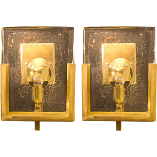 Pair of Italian Solid Murano Glass Block and Brass Sconces, circa 1980, Italy