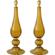 Large Pair of Handblown Italian Bronze and Gold Murano Glass Lamps