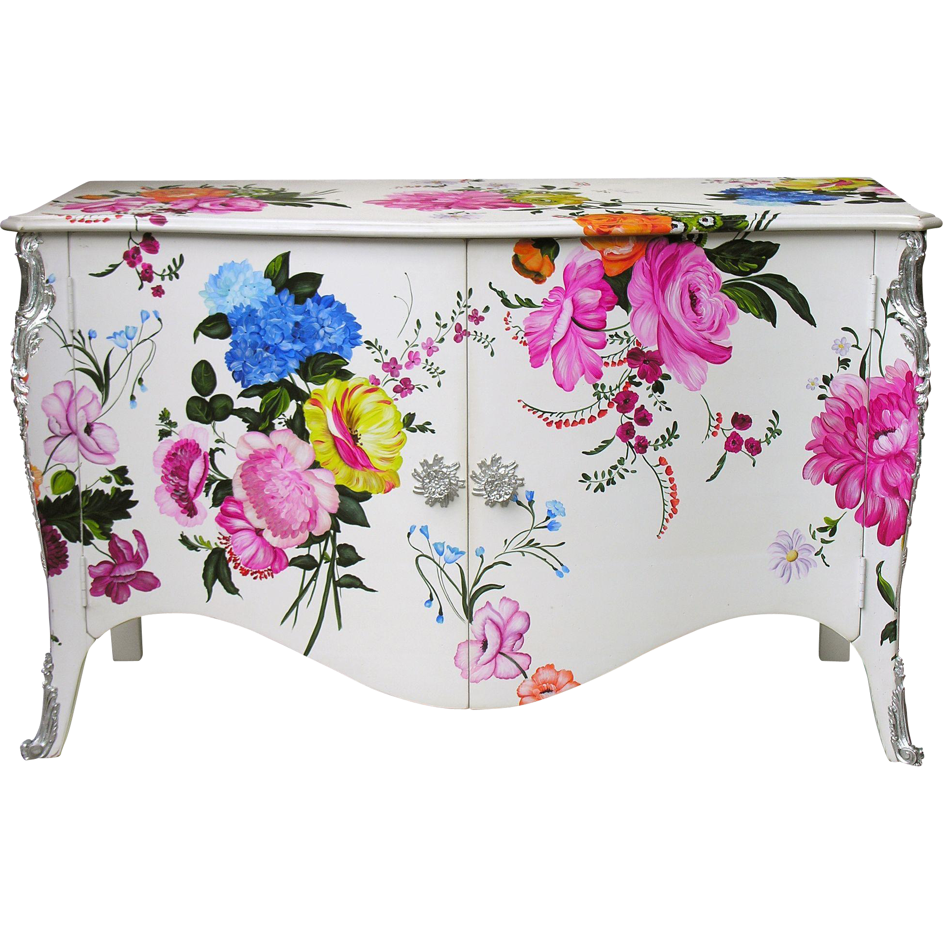Commode buffet with hand painted flowers from cote france on rubylux - Commode buffet design ...
