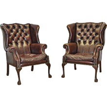George III Style Wingback Leather Library Chairs