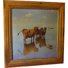 Cows Observing Fisherman Oil Painting by Hans Brasen