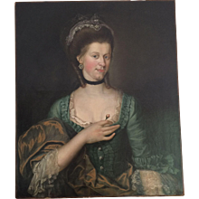 18th Century Danish Portrait of a Lady with Rose