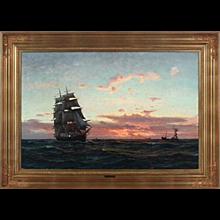 19th Century Danish Seascape at Sunset