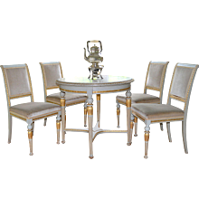 Swedish Neoclassical Gustavian Style Marble Topped Round Table and Four Side Chairs