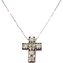 Diamond and Ruby Cross Pendant 18K